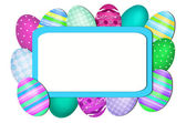 Easter card with eggs around the blank board — Stock Photo