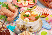 Easter white borscht with quail eggs and sausage — Stock Photo