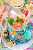 Easter white borsht with quil eggs and sausage in a glass — Stock Photo