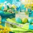 Easter table decoration in pistachio and turquoise colors — Stock Photo