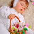 Sleeping baby in easter bunny costume — Photo
