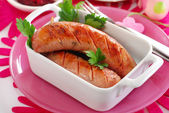 Grilled white sausage with beetroot sauce for easter — Stockfoto