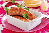 Grilled white sausage with beetroot sauce for easter — ストック写真