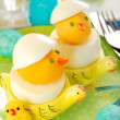 Easter chickens made from boiled eggs — Stock Photo