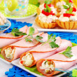 Ham rolls stuffed with vegetable salad and mayonnaise — Stock fotografie