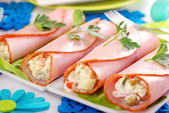 Ham rolls stuffed with vegetable salad and mayonnaise — Stock Photo