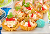 Assortment of salty mini tartlets with various filling — Stok fotoğraf