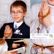 Praying boy going to the first holy communion — Stock Photo #21620663
