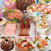 Collage with traditional polish easter dishes — Stock Photo