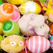 Stock Photo: Easter basket with eggs and sheep figurine