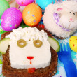 Easter sandwich with sheep head for child - Stock Photo