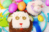 Easter sandwich with sheep head for child — Stock fotografie