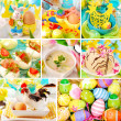 Collage with easter decorations and traditional dishes — Stock Photo