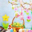 Easter table with colorful eggs decoration — Stock Photo