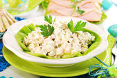 Vegetables salad with ham and mayonnaise — Stock Photo