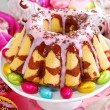 Marble ring cake for easter — Stock Photo #22258443