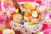 Easter basket with traditional food and decorations — Stock Photo