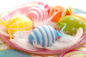 Colorful easter eggs on the plate — Stock Photo