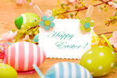 Easter eggs and greetings card on wooden background — Stock Photo