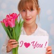 Stockfoto: Flowers and greeting card for you
