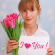 Stock Photo: Flowers and greeting card for you