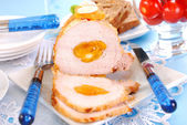 Roasted pork loin with apricots and almonds — Stock Photo