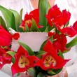 Bouquet of red tulips with ticket for message — Stock Photo #24798807