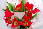 Bouquet of red tulips with ticket for message — Stock Photo