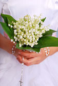 Lily of the valley bunch for the first holy communion — Stock Photo