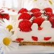 Strawberry cake with whipped cream — Stock Photo
