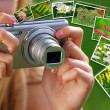 Concept of taking nature photos  by digital camera — Stockfoto