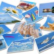 Stock Photo: Summer holidays photos collection on white