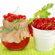 Fresh red currant and jar of preserve — Stock Photo