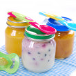 Jars with baby food — Stock Photo
