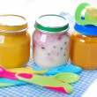 Jars with baby food — Stock Photo #29879075