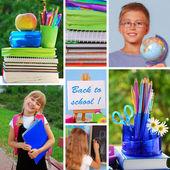 Collage con la espalda al concepto de escuela — Foto de Stock