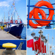 Marine collage with small tourist ship and details — Stock Photo