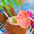 Summer drink in coconut shell — Stock Photo