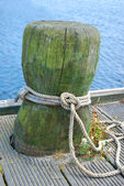 Old wooden mooring bollard with rope — Stock Photo