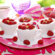 Raspberry cupcakes in tea cup shape molds — Stock Photo