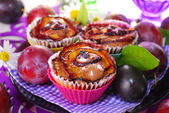 Muffins with plums in rose shape — Stock Photo