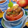 Baked apple with liver and onion — Stock Photo