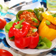 Stock Photo: Bell peppers stuffed with minced meat