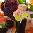 Elderberry juice and fresh fruits in the basket — Stock Photo #32876037