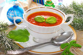 Cream of red pepper and tomato soup for christmas — Stock Photo