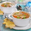 Cream cep soup with cheese toast for christmas — Stock Photo