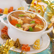 Cep soup with pasta for christmas — Stock Photo