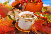 Autumn porcini mushrooms soup — Stock Photo