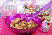 Christmas noodles with poppy seeds and raisins — Stok fotoğraf