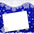 Christmas card with snowflakes on dark blue background — Stock Photo #34495157